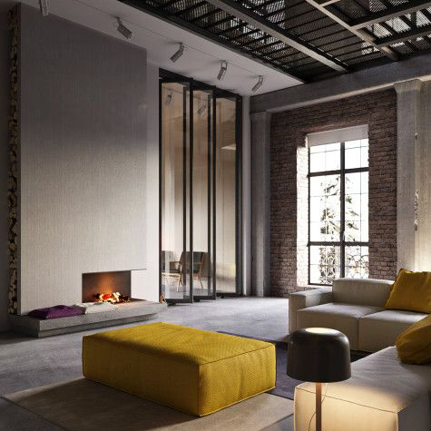 un grande living stile industrial