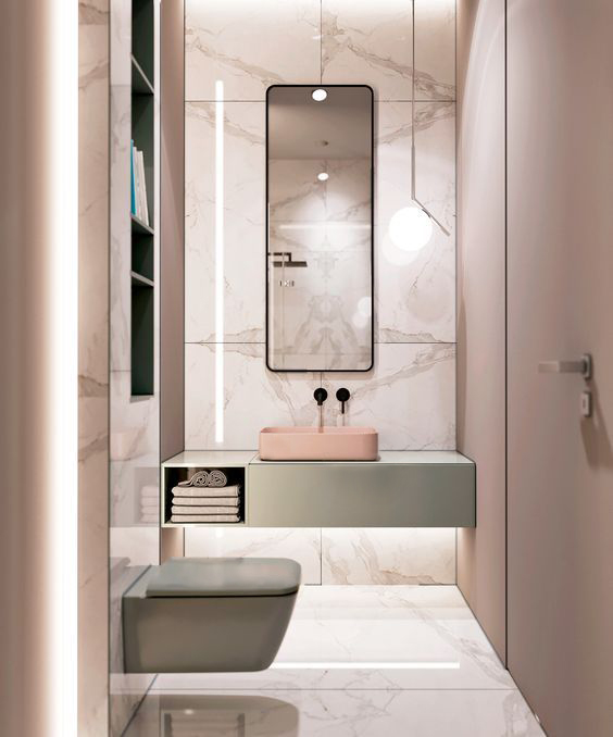 Bagno marmo rosa