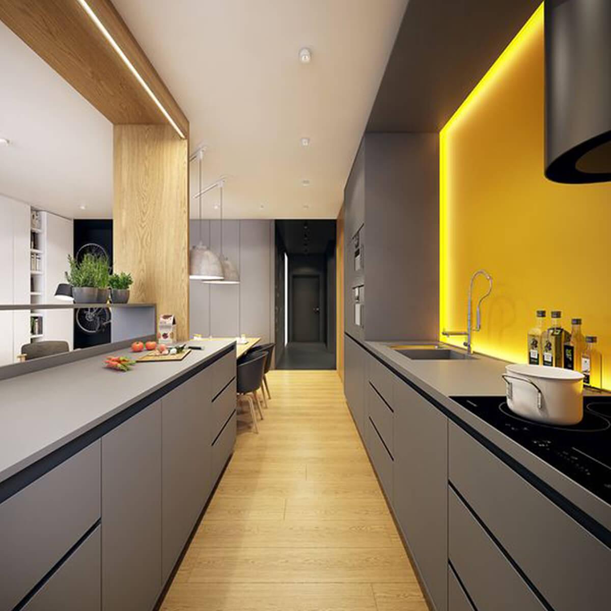 cucina moderna giallo e nero
