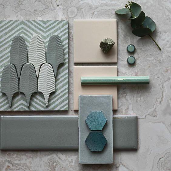 Progettazione interni blu e verde