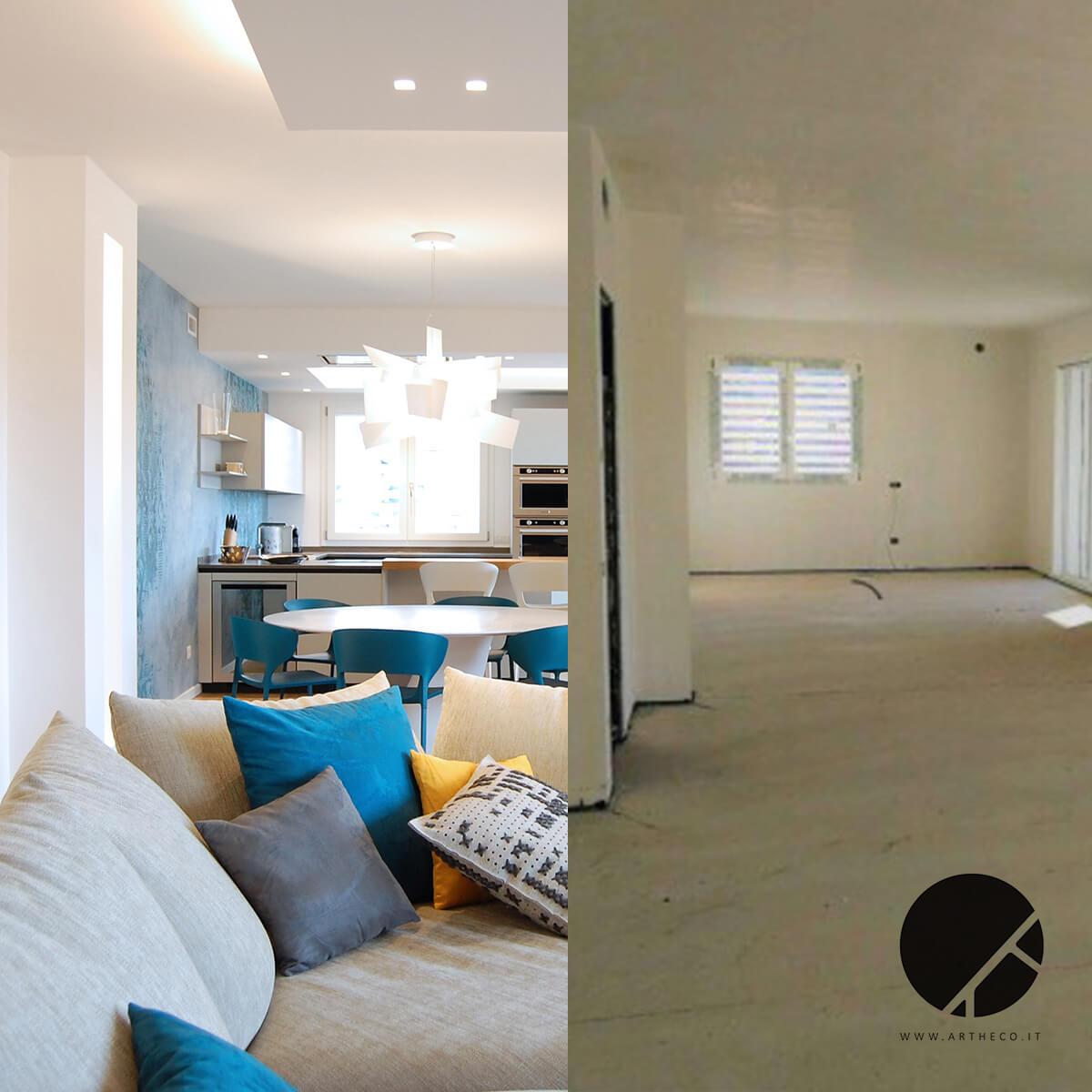ristrutturazione salotto moderno prima e dopo