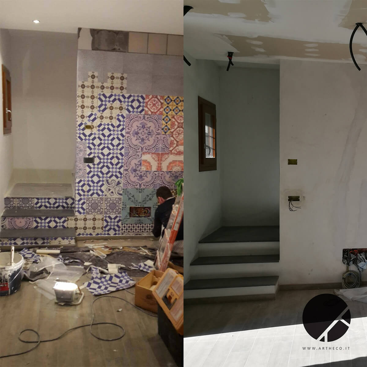 ristrutturazione pareti colorate prima e dopo