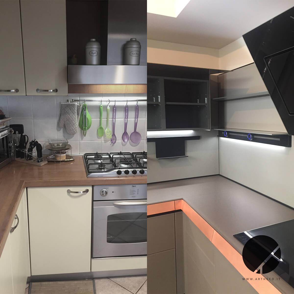 ristrutturazione cucina moderna prima e dopo