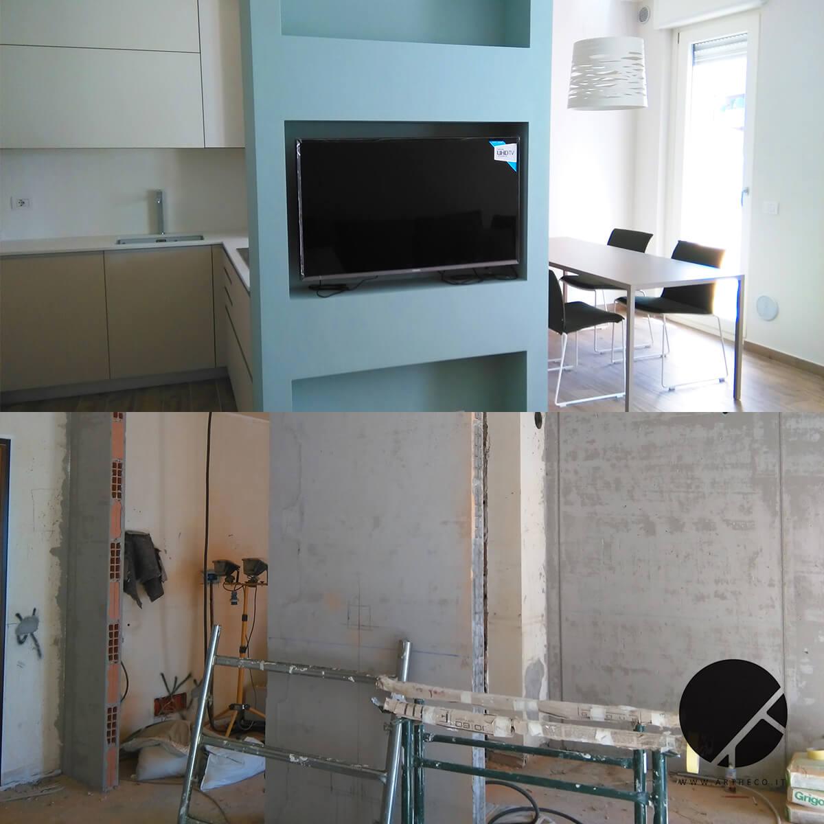 ristrutturazione angolo tv prima e dopo