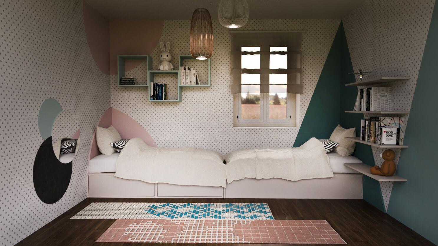 Appartamento color turchese e mattone