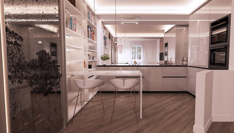 appartamento arredato con specchi e rame