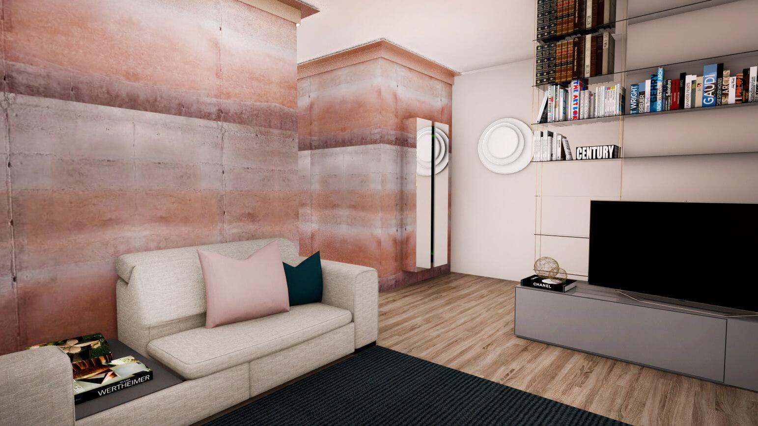 salotto in cemento rosa
