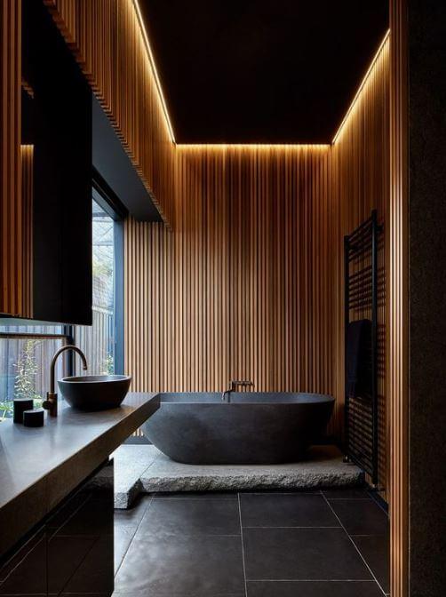 loft moderno in cuoio e texture noir