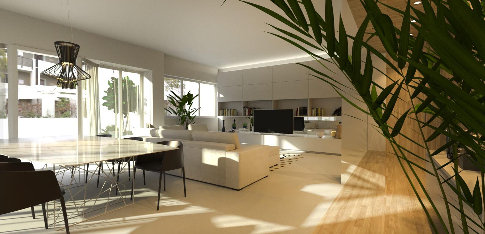 attico elegante in legno bianco